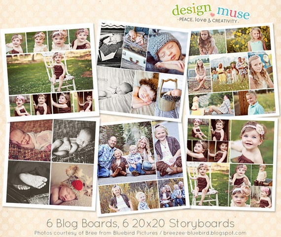 6 Basic Blog Board & Storyboard Templates for Photographers INSTANT DOWNLOAD