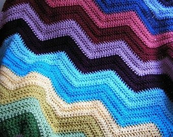 new chevron zig zag baby blanket afghan wrap crochet knit lap robe wheelchair ripple stripes VANNA WHITE yarn multi color made in the USA