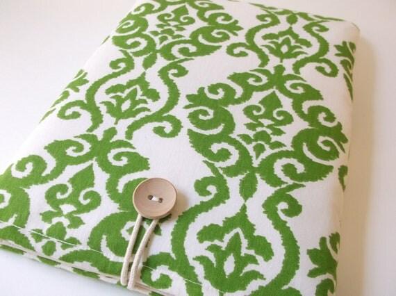 Green ikat Macbook Pro 13 Case, Mac Book Pro Sleeve,13. 3 inch Screen Laptop Padded Bag, Retina Display, Ikat  Damask Emerald