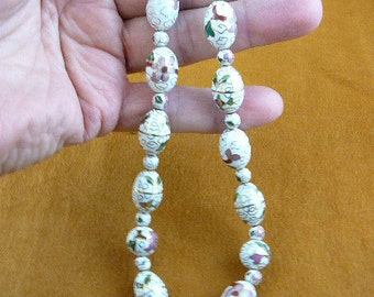 White Cloisonne Beads pink white flower flowers 20 inch long bead beaded Necklace jewelry V257-2