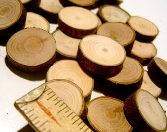 100 Tree Branch Slices Small Wood Rounds Under An Inch Circle Blanks With Bark