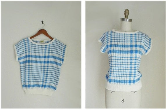 80s blue and white plaid short sleeve sweater