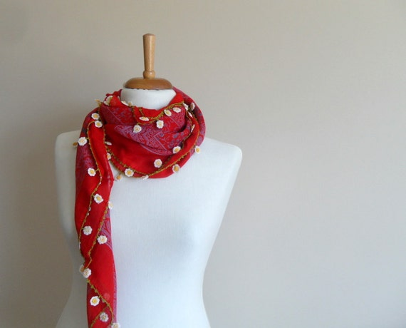 Christmas Gift,Crocheted Lace Scarf, Red Blood Shawl, Turkish Traditional Scarf, Autumn Fashion, Daisy Flowers