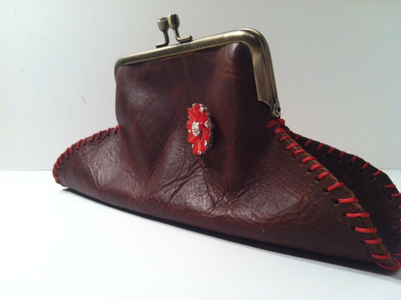 Brown Leather Purse Clutch with Red Vintage Broach