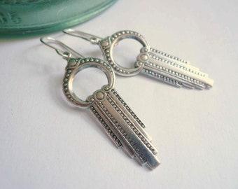 Silver art deco earrings Long silver earrings Gift Silver dangles Sterling silver ear wires Lightweight earrings Keyhole Long drop earrings