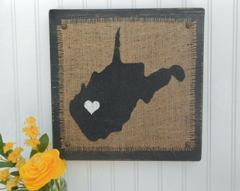 West Virginia BURLAP rustic style sign