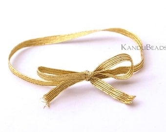 SALE 50% - 50 Gold Elastic Bows - Fits Jewelry and Gift Boxes - Wedding, Party Favors, Candy, Soap, Gift Bags, Gift Boxes FOOD SAFE