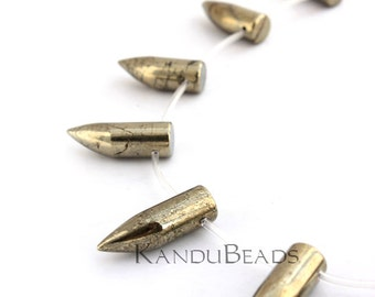 Pyrite Horn, Bullet Beads 10x28mm CHOOSE QUANITY