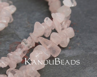"""Rose Quartz , Baby Pink, Small Chip Beads  5-10mm  LONG 34"""" strand"""