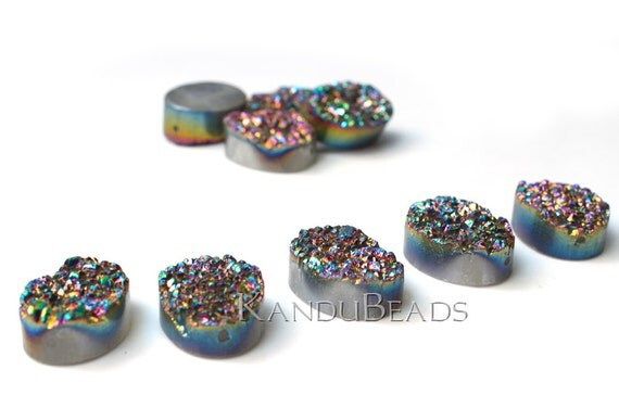 Silver Rainbow Color Quartz Titanium Oval  Druzy geode bead, 12x15mm (ONE BEAD)