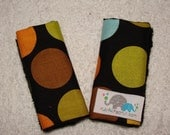 You Pick the SIZE- Carseat Strap Covers in Infant or Toddler Size in Puppy Park Dots Black