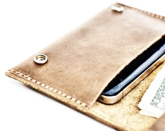 Distressed Leather iPhone 6 Case  - Aged Leather Smartphone Wallet - FREE SHIPPING