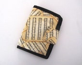 Fabric Bifold Billfold Wallet Purse music black and cream