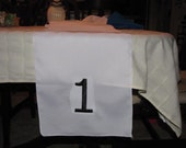 Monogrammed Table Runners for Table Numbers at Wedding Reception