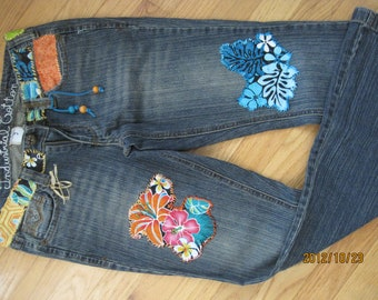 Hawaiian print, patchwork jeans embellished(size9)
