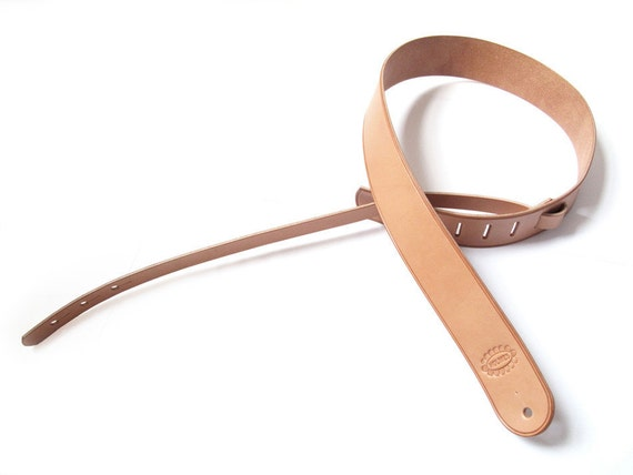 Straight Round End Leather Guitar Strap