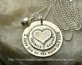 I Love You To The Moon and Back Infinity & Beyond w/ Heart Stacked on Top Hand Stamped Necklace