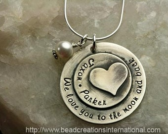 NEW Sterling Silver We Love You To The Moon and with Two Names Heart Stacked on Top Hand Stamped Necklace