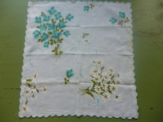 Vintage Turquoise Roses and Daisies Print Handkerchief, Large