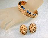 Vintage Blue Enamel Bracelet and Earrings Rhinestone Faux Pearl