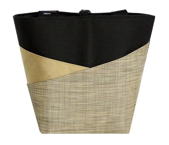 LARGE TOTE BAG for Laptop/Travel/Gym/Teacher/Tennis/Yoga/Shopping/Books/Swimming/Beach/Diaper/Knitting in Gold, Black & Burlap Angled Pocket