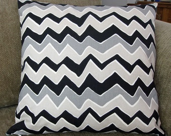 "One Decorative Pillow Cover, Fits 18"" Insert, Black, Gray, Taupe and Cream Zig Zag Chevron Stripe, Zipper"