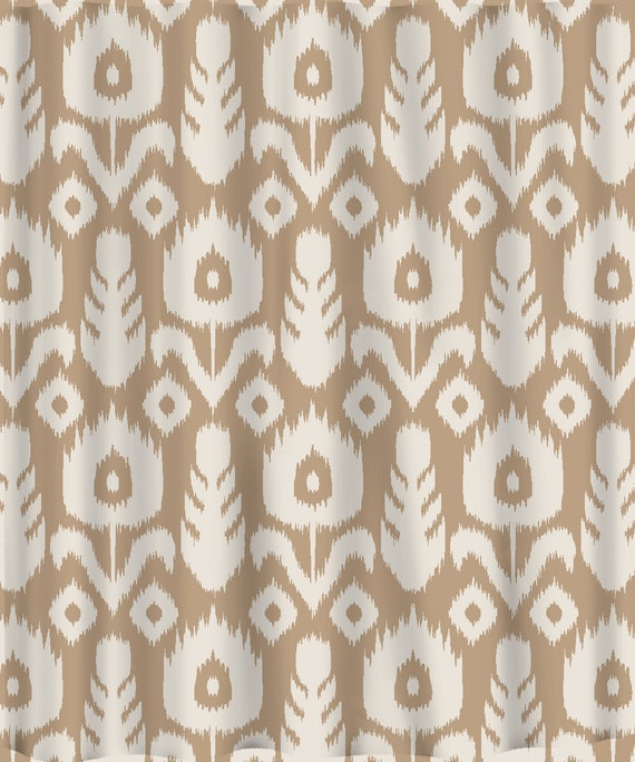 Items Similar To Custom IKAT Chevron Shower Curtain Any Color Shown Neutr