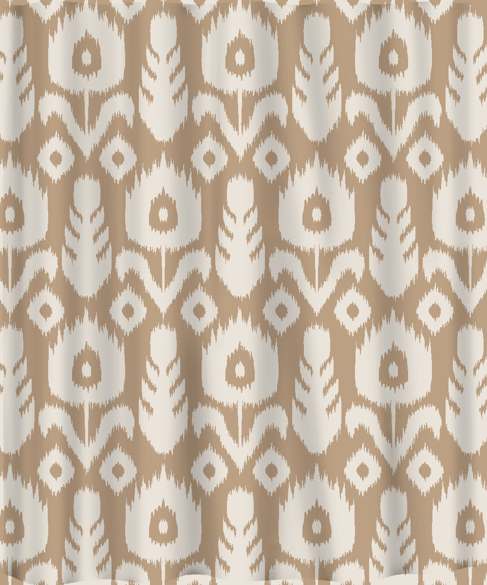 Custom IKAT Chevron Shower Curtain Any Color Shown Neutral