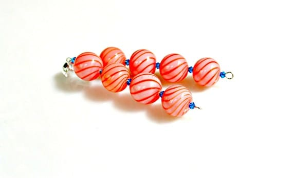 Earrings Peach Glass Beads - Long Dangles with Unique Glass Hand Blown Swirls  and Capri Blue Austrain Crystals by Mei Faith