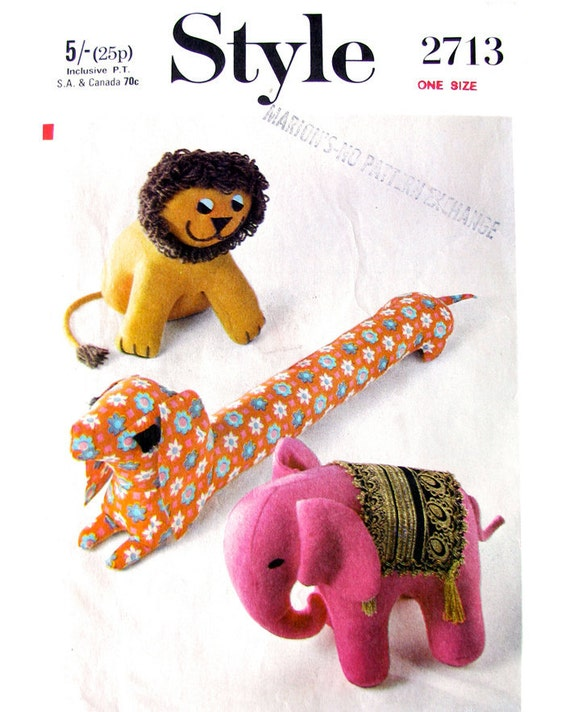 Vintage 70s Stuffed Toy Pattern Style 2713 Lion Elephant & Dachshund Original Sewing Pattern
