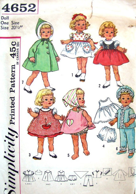 Vintage 60s Chatty Cathy Doll Clothes Pattern Simplicity 4652 Original Pattern Size 20 1/2 inch