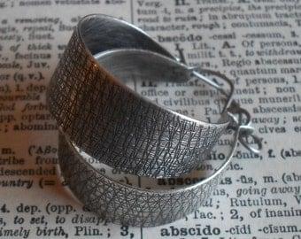 Sterling Silver Hoops, Sterling Hoops, Large Hoops,  Wide Hoops, Embossed Textured Handwrought Classic Silversmith Hoops
