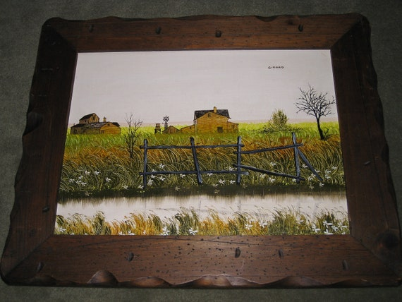 VINTAGE 1950s Farm House Barn Windmill Prairie Stream Acrylic Antique Painting w/Pyro Distressed Handmade Rustic Wood Frame