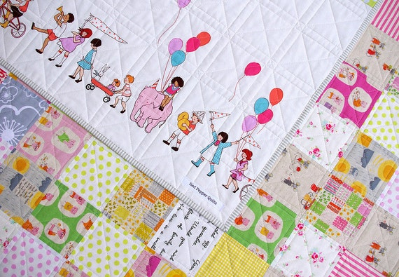 Modern and Colorful Patchwork Quilt - A girly girl quilt