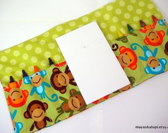 Crayon Wallet - Urban Zoologie Monkeys in Green - art wallet.art holder.party favor -  Crayons and Pad NOT INCLUDED
