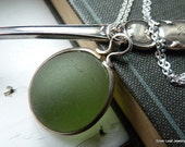 TRANQUIL Green Sea Glass Necklace Pendant - Genuine English Bubble - Sterling Silver