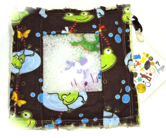 Quiet Activity Bag - Frog Hop Rag I Spy Bag, eye spy pillow, seek and find educational game, quiet toy - READY TO SHIP