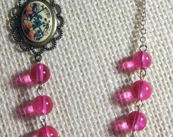 Hot Pink Necklace with Vintage Floral Cabochon
