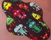 Mama Cloth Reusable Menstrual Sanitary Pad brown monsters - size L to L Plus
