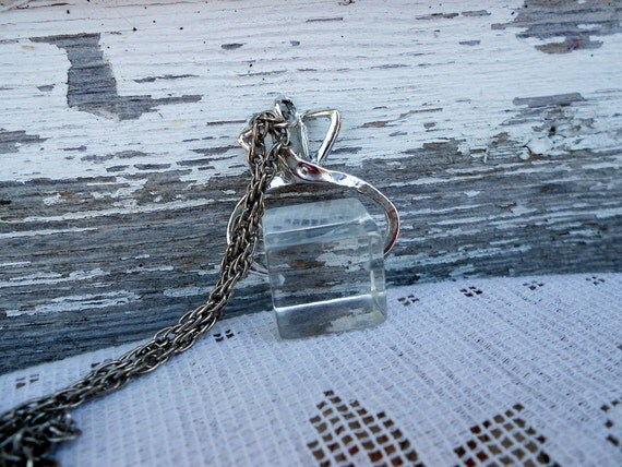 Vintage Ice Cube with Tongs Lucite Pendant Necklace