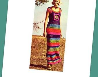 INSTANT DOWNLOAD PDF Vintage Crochet Pattern    1970s Granny Square Maxi Sun Evening Dress  Retro Plus Free Pattern