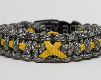 SLIM Paracord Bracelet Cobra - Thin Line Ribbon - ACU Camo with Yellow