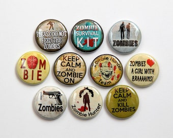 Zombie Pack - Set of 10 Pinback Buttons Badges 1 inch