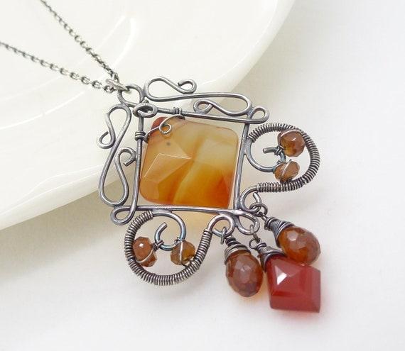 Carnelian necklace, sterling silver, dark burnt orange gemstone necklace, wire wrapped jewelry, handmade gothic carnelian jewelry