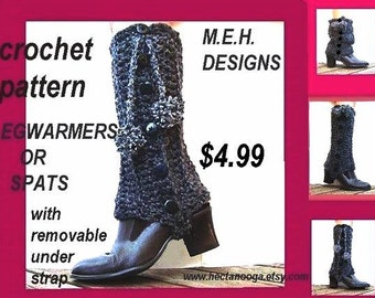 INSTANT DOWNLOAD Crochet Pattern PDF. 175 - Spats or Legwarmers with under foot removable strap -make them any size