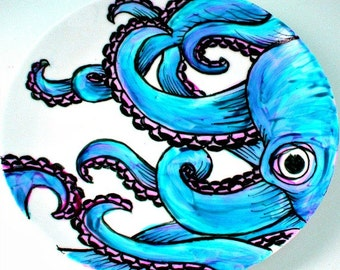 Octopus Plate Ceramic Turquoise Blue Kraken Sea Creature Nautical Decor Painted Tentacles Black White - MADE TO ORDER
