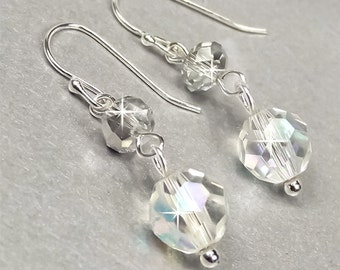 Crystal Bridal Earrings, Clear and Silver Night Swarovski Crystal Bridal Earrings, Swarovski Crystal Earrings, Wedding Earrings Venus WE0105