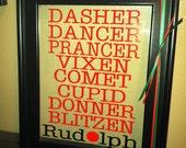 Dasher...Dancer...Prancer...Vixen...Reindeer Names Vinyl Wall Art