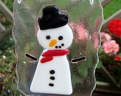 Snowman fused glass suncatcher Christmas hanging ornament hand made