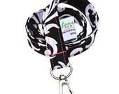 Fabric Lanyard ID Badge Holder | Black & White Damask Floral | Ready To Ship